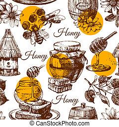 esboço, padrão, seamless, ilustração, mão, mel, desenhado