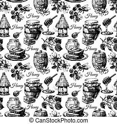 esboço, padrão, seamless, mão, mel, vetorial, desenhado