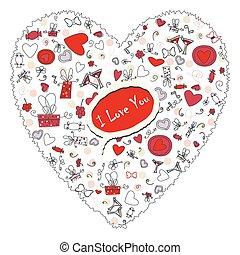 esboço, padrão, valentine, desenho, corações, desenho, seu