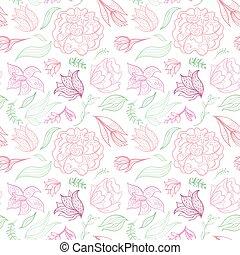 esboço, padrão, vetorial, floral