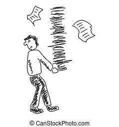 esboço, paperwork, doodle, carregar, fundo, branca, homem