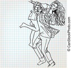 esboço, par, jovem, ilustração, divertimento, tendo
