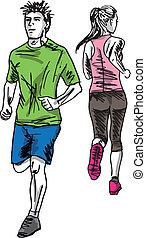 esboço, par, runners., ilustração, vetorial, maratona