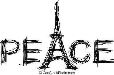 esboço, paz, palavra, doodle, eiffel, ilustração, mão, vetorial, tower., desenhado