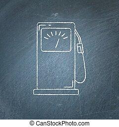 esboço, petrol enche posto, chalkboard, ícone