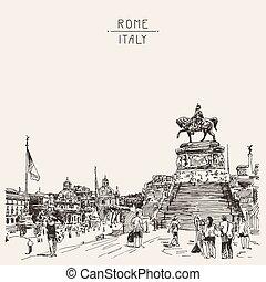 esboço, piazza, altar, -, gorda, mão, roma, venezia, desenho