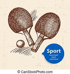 esboço, ping, object., mão, pong., vetorial, ilustração, desenhado, desporto