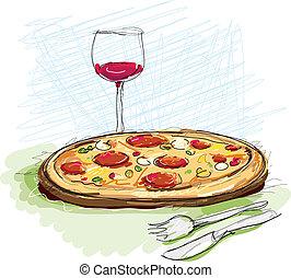 esboço, pizza