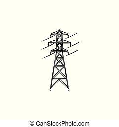 esboço, poder, doodle, mão, elétrico, desenhado, linha, icon.
