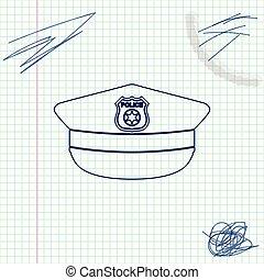 esboço, polícia, sinal., boné, isolado, ilustração, experiência., vetorial, linha, cockade, chapéu, branca, ícone
