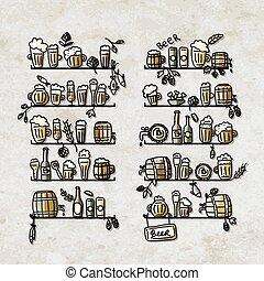 esboço, prateleiras, ícones, cerveja, desenho, seu