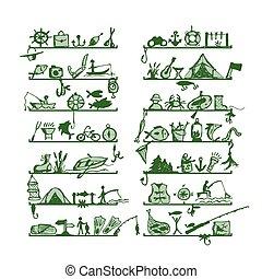 esboço, prateleiras, ícones, desenho, pesca, seu