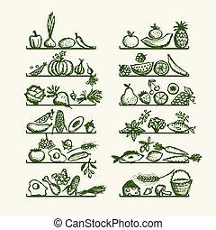 esboço, prateleiras, alimento saudável, desenho, seu