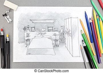 Esboço, quadro, modernos, quarto,  freehand, ferramentas