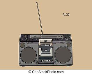 esboço, rádio, retro, vector., afinador, ondas, antigas