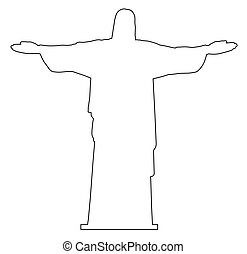 esboço, redentor, christ