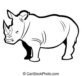 esboço, rinoceronte