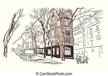 esboço, rua, paris, ilustração, aquarela, vetorial, europeu