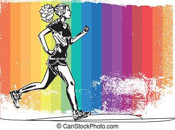 esboço, runner., ilustração, vetorial, femininas, maratona