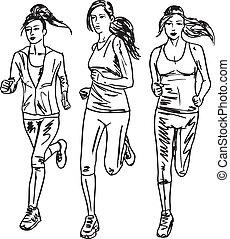 esboço, runners., ilustração, vetorial, maratona, mulheres