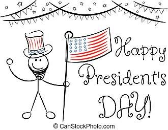 esboço, 's, saudação, isolado, presidente, dia, cartão, feliz
