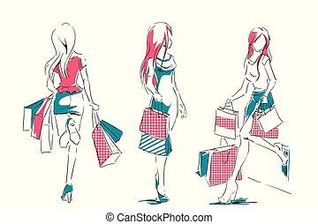 esboço, sacolas, meninas, elegante, shopping