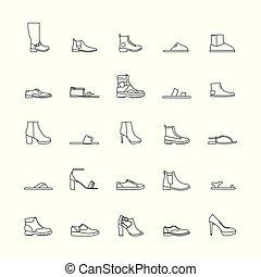 esboço, sapatos, ícones