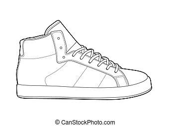 esboço, sapatos