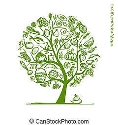 esboço, saudável, árvore, desenho, alimento, seu