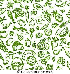 esboço, saudável, seamless, padrão, alimento, desenho, seu