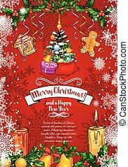 esboço, saudação, vetorial, ano, novo, cartão natal