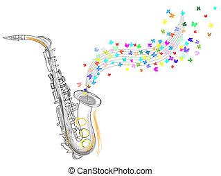 esboço, saxofone