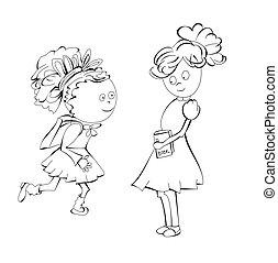 esboço, schoolgirls