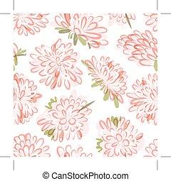 esboço, seamless, padrão, desenho, floral, seu