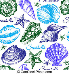 esboço, seashell, pattern., seamless, ilustração, mão, desenhado