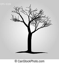 esboço, sem, -, folhas, árvore, morto, isolado, vetorial, ilustração, fundo, branca