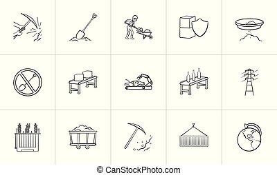 esboço, set., mão, desenhado, indústria, ícone