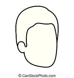 esboço, silueta, de, homem, faceless, com, penteado, simples