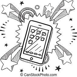 esboço, smartphone