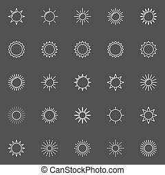 esboço, sol, ícones