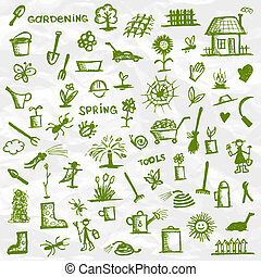 esboço, spring., projeto jardim, ferramentas, seu