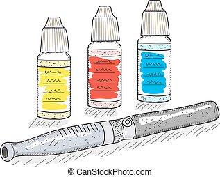 esboço, style., ilustração, mão, bolso, cigarros, vetorial, eletrônico, desenho, hookah.