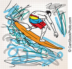 esboço, surfando, ilustração