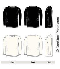esboço, t-shirt, manga longa, em branco, preto branco