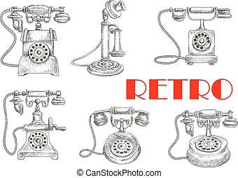 esboço, telefones, mostradores, rotativo, retro