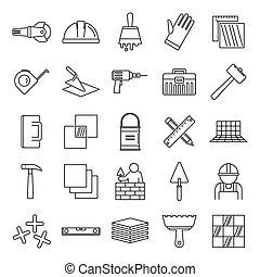 esboço, trabalhador, ícones, jogo, estilo, tiler