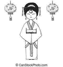 esboço, tradicional, vetorial, asiático, kimono., menina