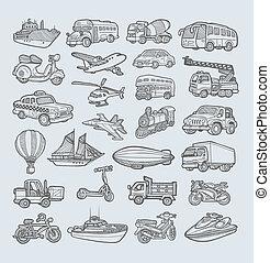 esboço, transporte, ícones
