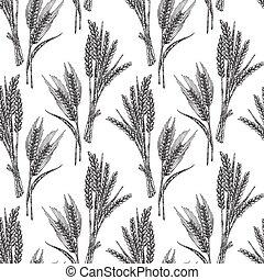 esboço, trigo, pattern., seamless, ilustração, isolado, vetorial, branca, style.