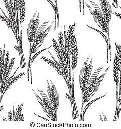 esboço, trigo, pattern., seamless, ilustração, vetorial, pretas, branca, style.
